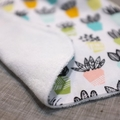 baby bib - succulents / organic cotton and hemp fleece
