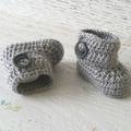 Grey Newborn Crochet Baby Booties Shoes Socks Baby Reveal Pregnancy Announcement