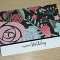 Female Happy Birthday card - modern floral print
