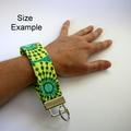 Wrist Key Fob / Keyring - Yellow & Green Circles