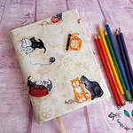 A5 Fabric Cat Journal Notebook Cover