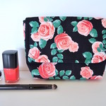 Pink rose make up pouch, cosmetic case