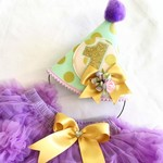 Mint & Gold Polka Dot 1st Birthday Party Hat with Lilac Purple Pettiskirt