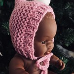 Pink Doll Bonnet | Miniland 21cm Baby Doll Bonnet | Hat for doll