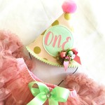 Pink and Gold Polka Dot Party Hat with Pink Glitter Pettiskirt