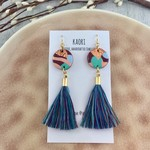 Handcrafted polymer clay statement earrings with tassels & gold plated hooks