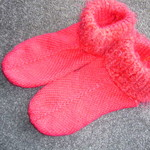 Red Knitted Slipper Socks Bed Socks