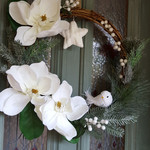 Christmas Wreath, White Magnolia Door Wreath (50cms)