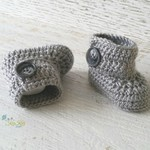 Grey Newborn Crochet Baby Booties Shoes Socks Baby Reveal Pregnancy Announcement