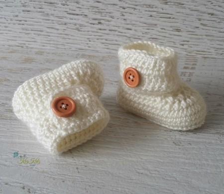 Cream Crochet Baby Booties Pregnancy Announcement Baby Reveal