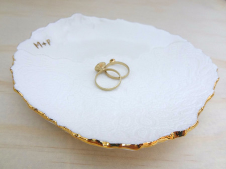 Personalised gold wedding ring dish, ring holder, Ceramic bowl. Ring pillow.