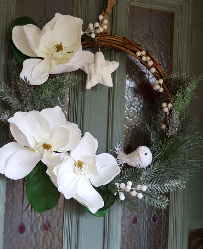 Christmas Wreath White Magnolia Door Wreath 50cms Unreal