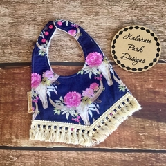 "Boho Baby Bib with Cotton Fringe ""Floral Skulls"""
