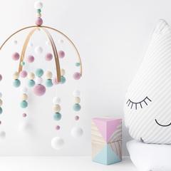 Baby Crib Mobile. Pink Aqua White Nursery Cot Mobile.  Girls Felt Ball Mobile.