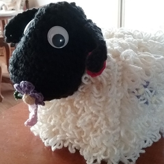 Fun, Funky Tissue Box Cosy BAA-tholomew Sheep Quality Easy Care Acrylic Yarn