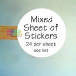 Mixed Sheet of Stickers - Thank you - Handmade - Unicorn - Genuine - Original