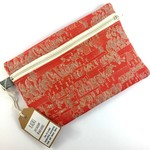 Handcrafted Kimono fabric cosmetics bag or purse- coral pink floral