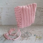 Dusty Pink Newborn Crochet Baby Pixie Bonnet Beanie Hat Photo Prop