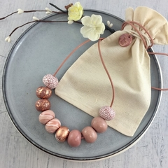 Handcrafted polymer clay adjustable necklace in pink, rose gold and white