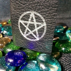 Mini spell book, leather bound cover, hand stitched inner.