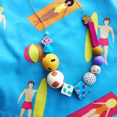 """Hand-painted """"Coastal Tango """" Wooden Necklace"""