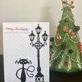 A cat under Lamp Post Christmas Card