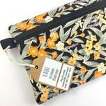 Handcrafted Kimono fabric cosmetics bag or purse- black and orange floral