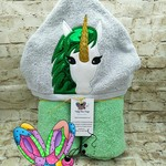 Unicorn Green Star Holographic Hooded Towel