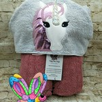Unicorn Pink Star Holographic Hooded Towel