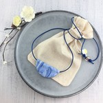 Handcrafted polymer clay pendant on long adjustable leather cord- blue waves