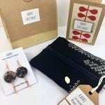 Christmas gift set- handcrafted earrings, kimono fabric purse and Christmas card