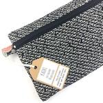 Handcrafted Kimono fabric cosmetics bag or purse- black and white shibori silk