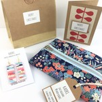 Christmas gift set- handcrafted earrings, kimono fabric purse and Christmas card