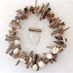 Driftwood Wreath with clay heart for a beach Christmas