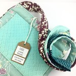 Handcrafted kimono fabric and leather handbag- turquoise, mint and purple