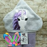 Unicorn Purple Star Holographic Hooded Towel