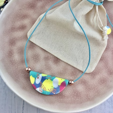 Handcrafted polymer clay pendant on long adjustable leather cord- rainbow pastel
