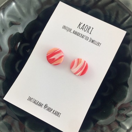 Handcrafted polymer clay stud earrings- coral pink and white waves