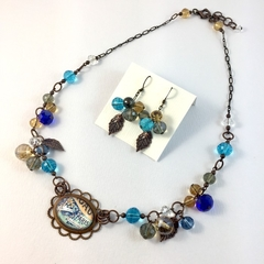 French inspired necklace and earrings in bronze, with amber & turquoise crystal