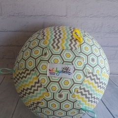 Balloon Ball: Hexi/Chevron in Grey, Blue, Lemon: Taggie