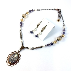 Notre Dame Photo Pendant on Crystal and Pearl Necklace and earrings set