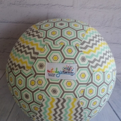 Balloon Ball: Hexies with Chevron. Grey, Blue, Lemon