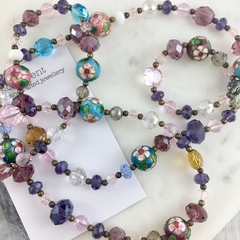 Cloisonné enamelled beads and crystal long necklace