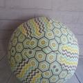 Balloon Ball: Hexies with Chevron. Grey, Blue, Lemon
