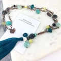 Teal, Turquoise and Yellow Semi Precious Beaded Necklace with removable tassel