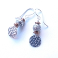 Boho disc sterling silver + glass earrings