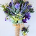 Rustic Boho Vintage Lavender Bouquet for Bride - Purple Spring Flower Bouquet