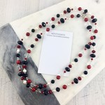 Red coral, freshwater pearl and crystal long necklace