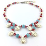 Coral, Turquoise and White Semi Precious Tiered Necklace