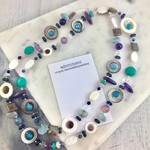 Amethyst, shell, turquoise, freshwater pearl and crystal long necklace